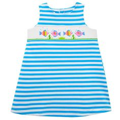 11e1f96a9435 Silly Goose Tropical Fish Girls Smocked Knit Dress from Madison-Drake  Children's Boutique