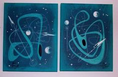 EL GATO GOMEZ 2 PAINTINGS RETRO 1950S 60S VINTAGE SCI-FI SPACE  ROCKET ABSTRACT #Modernism