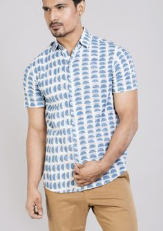 Block printed cotton shirts tops and shirt BS Each 13 This shirt is constructed from a handle cotton with block printed pattern .This cotton shirt ensures comfort and fit that easily outshines others.*classic collar shirt *semi formal shirt *half sleeves *Front buttoned.