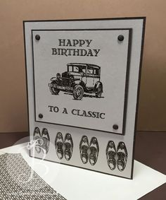 classic-car masculine birthday card using Stampin' Up! Guy Greetings stamp set: