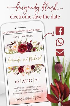 If you are Looking for a unique save the date idea for your big day check out our marsala and blush save the date invitation. Share your electronic save the date via phone txt, WhatsApp, email or social media.Pin this   click through to order yours! #savethedate #floralwedding #blushwedding #navywedding  #weddingstationary #burgundywedding