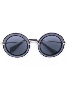 MIU MIU EYEWEAR . #miumiueyewear # Miu Miu, Eyewear, Round Sunglasses, Shopping, Black, Style, Fashion, Black People, Eye Glasses