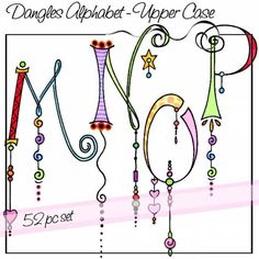 Dangles Alphabet - Upper Case is a whimsical watercolored alphabet with and without colorful dangles for a total of 52 letters. All of the letters are close to the same size but the length of the dangles varies. Doodle Alphabet, Alphabet Art, Doodle Lettering, Creative Lettering, Typography, Tangle Doodle, Doodles Zentangles, Letter A Crafts, Letter Art