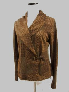 Lauren Ralph Lauren LRL Medium Blouse Top Brown Knit Equestrian Wrap Horses #RalphLauren #Blouse #Career