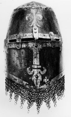 M14thC Painted Great Helm (Kornberg Helm) with Aventail. Front. Germanisches Museum, Nuremberg, Germany.