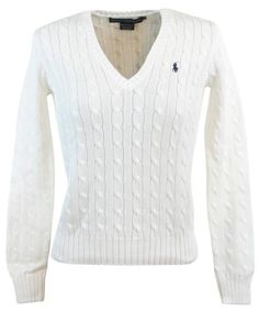 Ralph Lauren Sport Womens Cable Knit V-Neck Polo Pony Logo Sweater - XL -