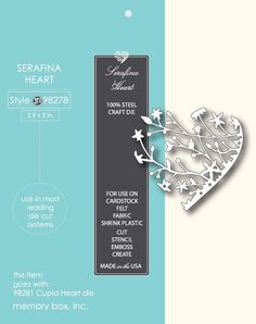 Memory Box Die 98278 Serafina Heart for Cuttlebug & Sizzix Free Shipping