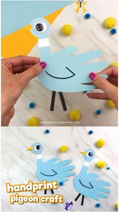 Mo Willems Inspired Handprint Pigeon Craft For Kids If your children love Don't Let The Pigeon Drive The Bus or the other pigeon children's books, they'll love making this simple handprint craft. It's a fun and easy craft for kids. #simpleeverydaymom #kidsactivities #kidscrafts #craftsforkids #childrensbook #preschool #preschoolactivities #preschoolers #preschoolcrafts #kindergarten #classroom #ideasforlids<br> Learn how to make this easy handprint pigeon craft inspired by children's book… Easy Crafts For Kids, Easy Diy Projects, Craft Kids, Art Projects, Pigeon Craft, Mo Willems, Mask For Kids, Simple Art, Easy Art