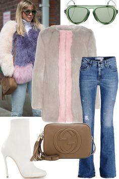 Shop Kerry's multicolor fur coat and edgy sunglasses: