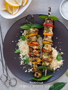 Chermoula Swordfish Skewers by foodiecrush as adapted from taste.com.au http://www.taste.com.au/recipes/18437/chermoula+fish+kebabs+with+couscous #Swordfish_Kebabs #foodiecrush