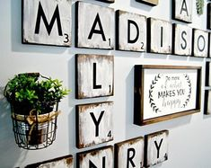 48 Ideas For Wall Tiles Living Room Scrabble Letters Scrabble Kunst, Scrabble Tile Wall Art, Scrabble Letters, Wood Letters, Framed Wall Art, Farmhouse Style Decorating, Farmhouse Decor, Family Wall, Family Room
