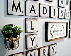 48 Ideas For Wall Tiles Living Room Scrabble Letters Scrabble Tile Wall Art, Framed Wall Art, Scrabble Letters For Wall, Scrabble Board, Wall Décor, Wood Wall, Farmhouse Style Decorating, Farmhouse Decor, Family Wall