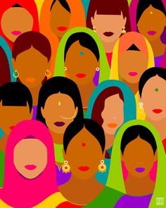 Fatemah Baig is an artist from Pakistan who celebrates the beauty of diversity and women in her wonderful artworks. Art And Illustration, Illustrations, Diversity Poster, Vw Vintage, Buch Design, Indian Folk Art, Feminist Art, Feminist Quotes, Indian Art Paintings