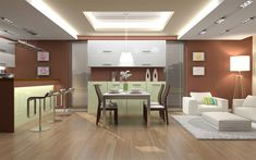Download wallpapers modern stylish kitchen interior, brown walls, stylish furniture, minimalism, interior design, kitchen