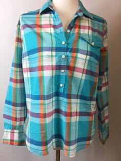 J Crew Plaid Popover Tunic Size Small Aqua Turquoise 100% Cotton Long Sleeve    | eBay