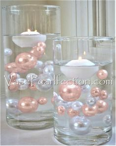 No Hole Blush Light Pink/ iPhone Rose Gold Pearls - Jumbo/Assorted Sizes Vase Decorations Soft, feminine, and delicately pretty, The light pink pearls make a great addition to any event. Float the pearls in cle. Pearl Centerpiece, Pink Wedding Centerpieces, Flower Centerpieces, Centerpiece Ideas, Graduation Centerpiece, Flower Arrangements, Roses Photography, Deco Table Noel, Light Pink Rose