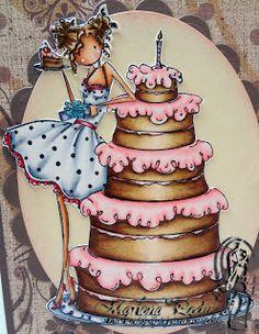 Copic pink: RV23, RV10, RV000 / Cake: E25, E23, E31, E30, Bianca: E13, E11, E01, E000, C5, C3, C1, CB (Image: Stamping Bella)