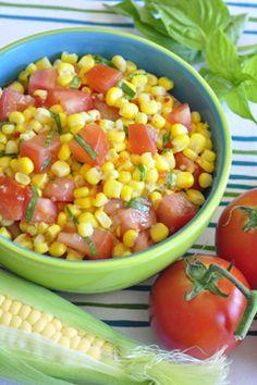 Corn & Tomato Salad, perfect side dish, kids can make, super fast, cheap, tasty!