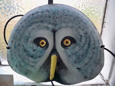 Owl mask made from Japanese paper plates (wasara)