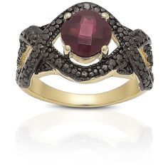 Dolce Giavonna Gold over Sterling Silver Garnet and Black Diamond Accent Ring (Size ) Women's