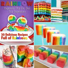 Rainbow Recipe Collection at Love From The Oven...These ideas are sooooo cute!!!!  I'm already thinking ahead to baby girl's first birthday...