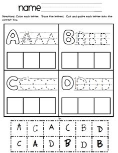 Letter Sort: Cut and Paste- Upper and lowercase letters. Teaches ...