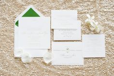 Interview with the bride - Alison +   Jaime | Naples, Florida destination wedding in orchid white and emerald green | Ice sculptures, sand castles, a simple and elegant celebration | Photography @Luminaire Foto | Poeme Custom Palm Tree Motif Stationery and Paper