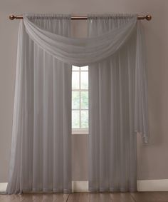 Warm Home Designs Pair of Charcoal Gray Sheer Curtains or Scarf