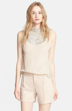 Massive crush on this embellished silk blouse by Haute Hippie