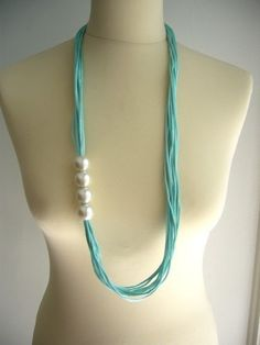 $29 Satin Cord and Acrylic Pearl Necklace