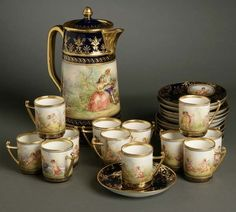 An A. Lamm Dresden porcelain chocolate service Early 20th century