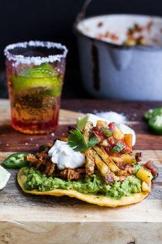 BBQ Margarita Chicken Tostadas with Sweet Jalapeño Margarita Salsa | halfbakedharvest.com