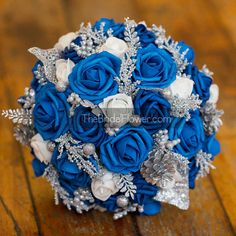 Royal blue silver winter wedding bouquet with by TheBridalFlower