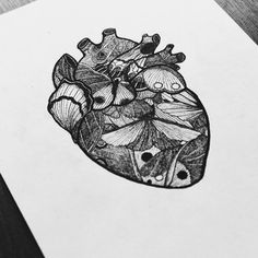 Let's start 2016 with new drawings  #heart #moth #butterfly #iblackwork #dotwork #linework #sketch #ink #micron #vsco #vscocam #surreal #anatomy #drawing #art