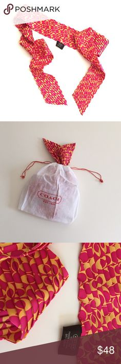 COACH % Silk Neck Scarf NWOT, Very excellent condition ⚜Very cute and elegant Coach 100% Silk Scarf. Coach Accessories Scarves & Wraps