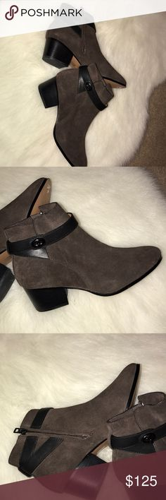Brown suede Coach booties with dark brown strap Brown suede Coach booties with dark brown strap size 8 Coach Shoes Ankle Boots & Booties