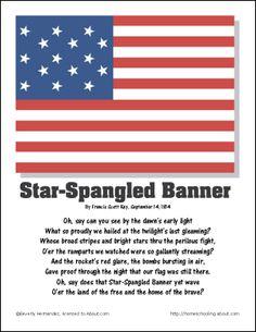 Star Spangled Banner Lyrics Printable including washington dc ...