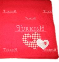 Red Towel With Heart Embroidered Motif