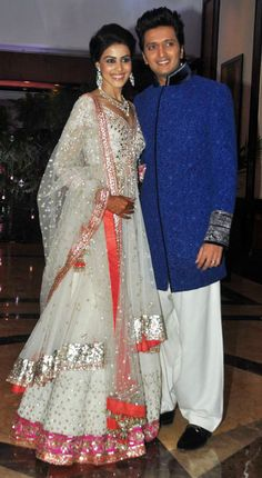 I love Genelia's Sangeet dress that was made by Manish Malhotra