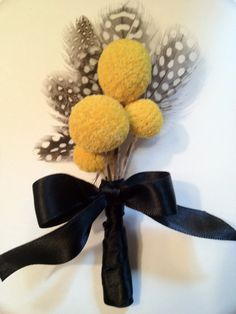 Billy Ball Boutonniere Dried Craspedia Groomsmen Ring by ladydiyer, $15.00