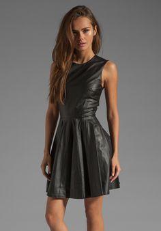 Diane von Furstenberg Jeannie Leather Dress in Black