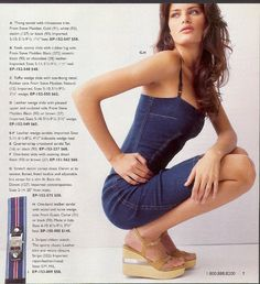 """Page from a Victoria's Secret 2002 catalog featuring a """"Stretch denim corset dress. Denim at its sexiest. Boned, fitted bodice and adjustable bra straps"""""""