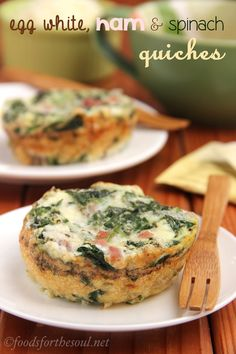 Egg White, Ham  Spinach Quiches -- a light, easy, and protein-packed breakfast. GF and clean eating too!