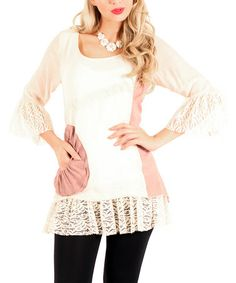 Another great find on #zulily! Cream & Pink Rosette Lace Tunic by Lily #zulilyfinds