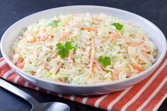 "The Top Secret Recipes website has a recipe for a replica of KFC coleslaw. It is originally from Todd Wilbur's ""Top Secret Recipes"" book series. Coleslaw Sandwich, Kfc Coleslaw, Coleslaw Salad, Coleslaw Dressing, Creamy Coleslaw, Vegan Coleslaw, Salad Dressing, Vegan Kfc, Vegan Recipes"