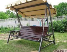 Welded Furniture, Iron Furniture, Porch Swing With Stand, Garden Furniture Design, Yard Swing, Rooftop Design, Swing Design, Recycled Garden, Swinging Chair