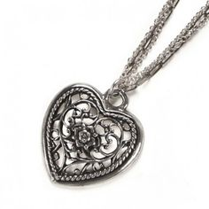 Jessabella Triple Chain Heart Necklace By RockLove Jewelry
