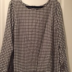 Merona long sleeve blouse - new with tags attached Long sleeve, black and cream blouse.  100% polyester, machine was cold/tumble dry low. Merona Tops Blouses