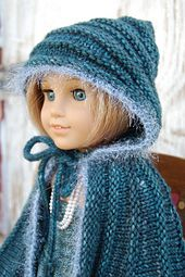 Ravelry: American Girl Doll Cape with Hood pattern by Elaine Phillips Cape Bebe, Ag Doll Clothes, Knitting Dolls Clothes, American Doll Clothes, Crochet Doll Clothes, Knitted Dolls, Sewing Dolls, Crochet Dolls, Hood Pattern