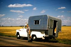Plains of Saskatchewan - Vintage Camper - Color Slide - 1957 Chevrolet w/ Alaskan camper